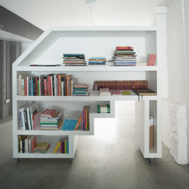 Shoreditch Office interior fit out by The Klassnik Corporation Bespoke Book case