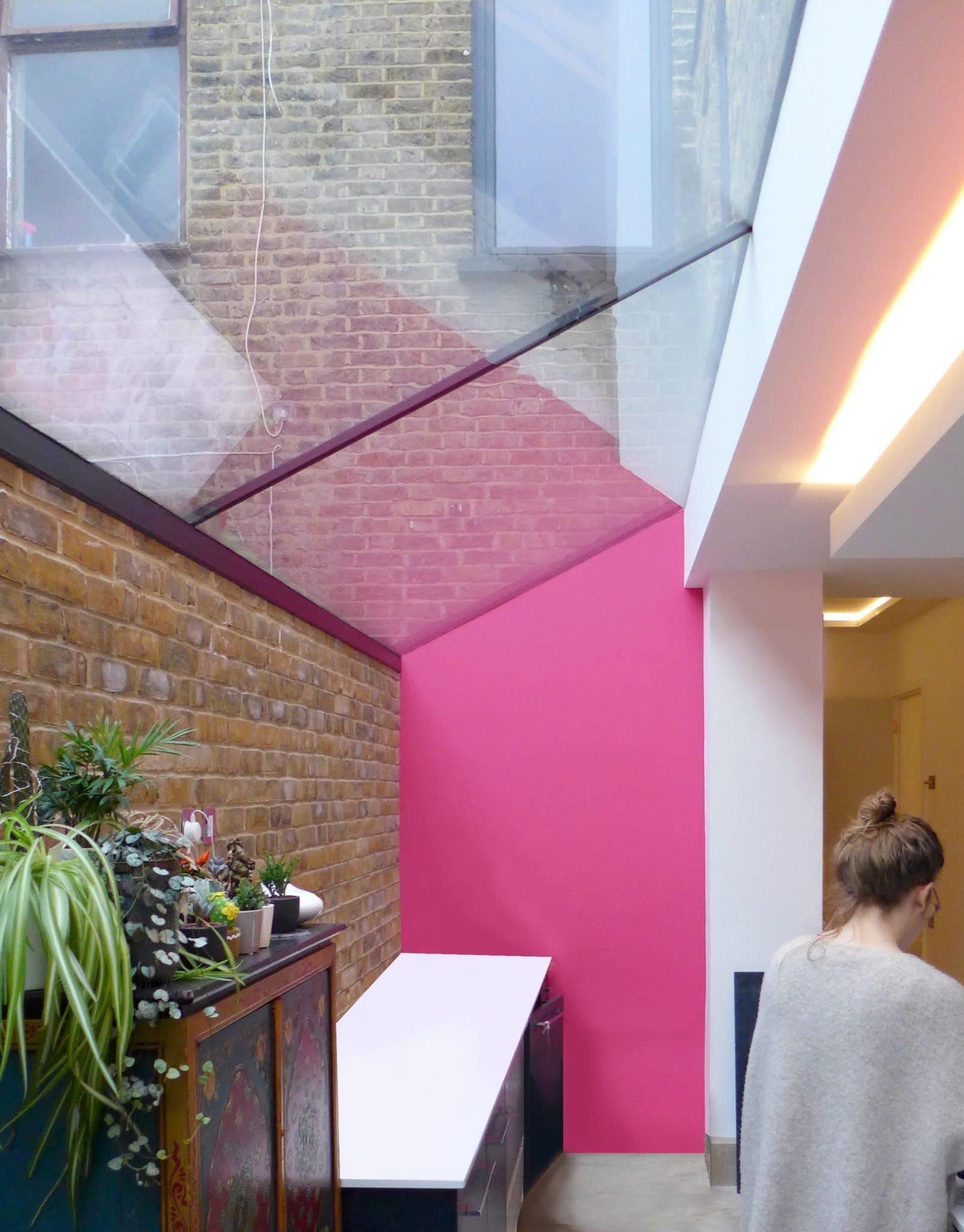 Side extension frameless skylight interior