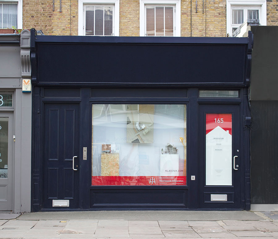 Klassnik Architects Islington Shop exterior at 165 Caledonian Road, Islington, London, N1 0SL