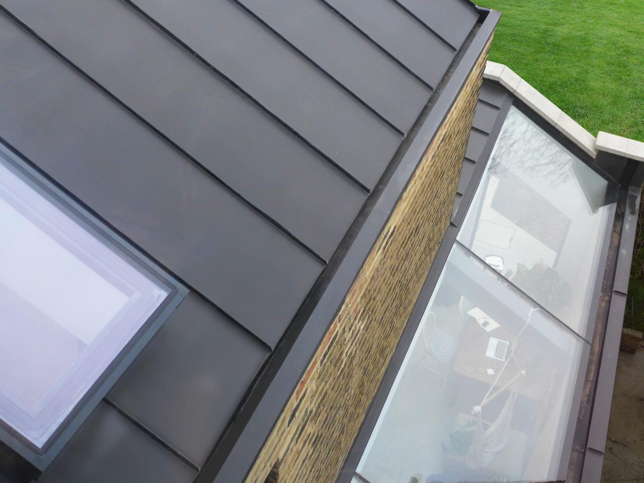 Zinc Roof standing seam cladding and frameless skylight