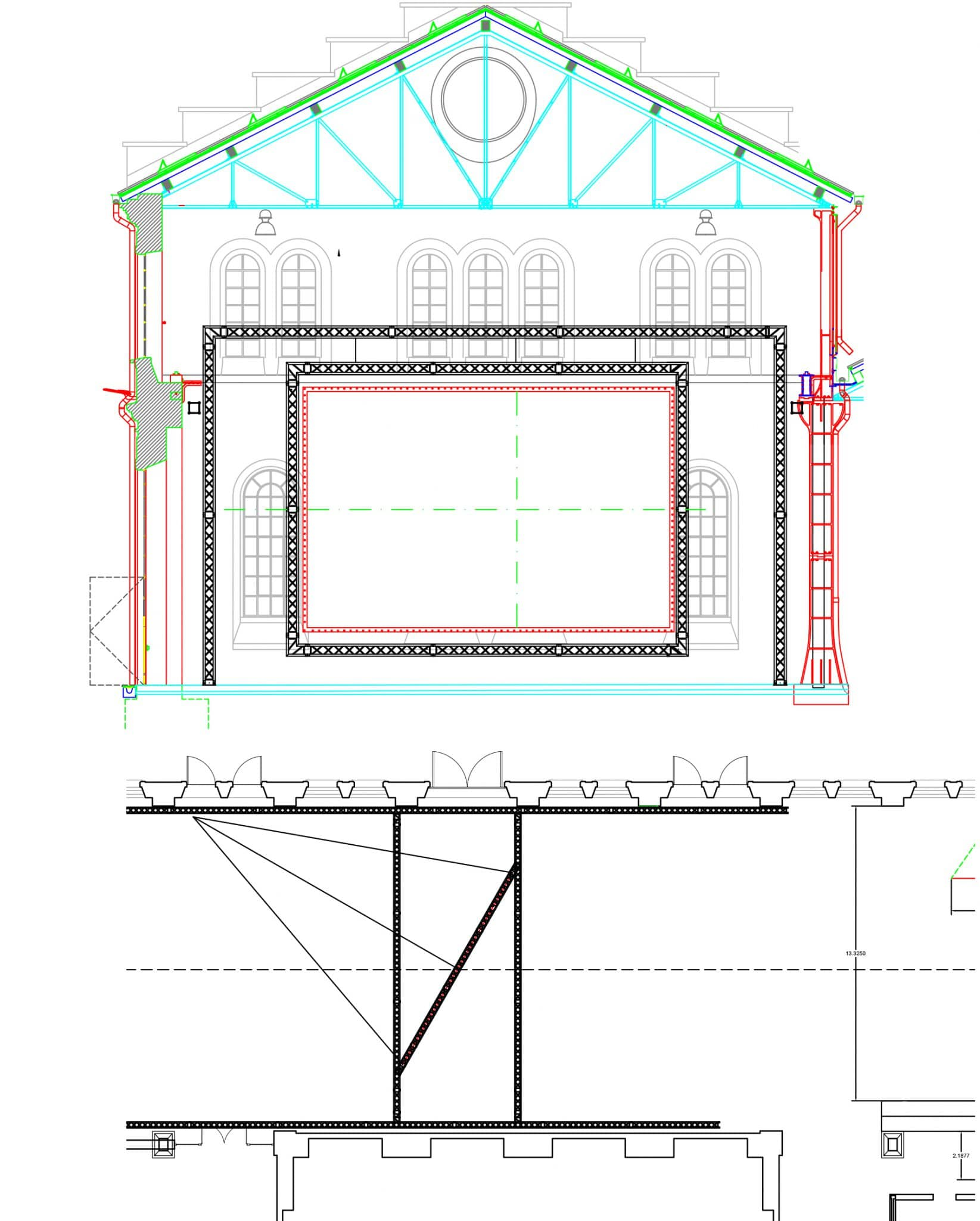 Susan Hiller, exhibition designer technical drawing projection screen