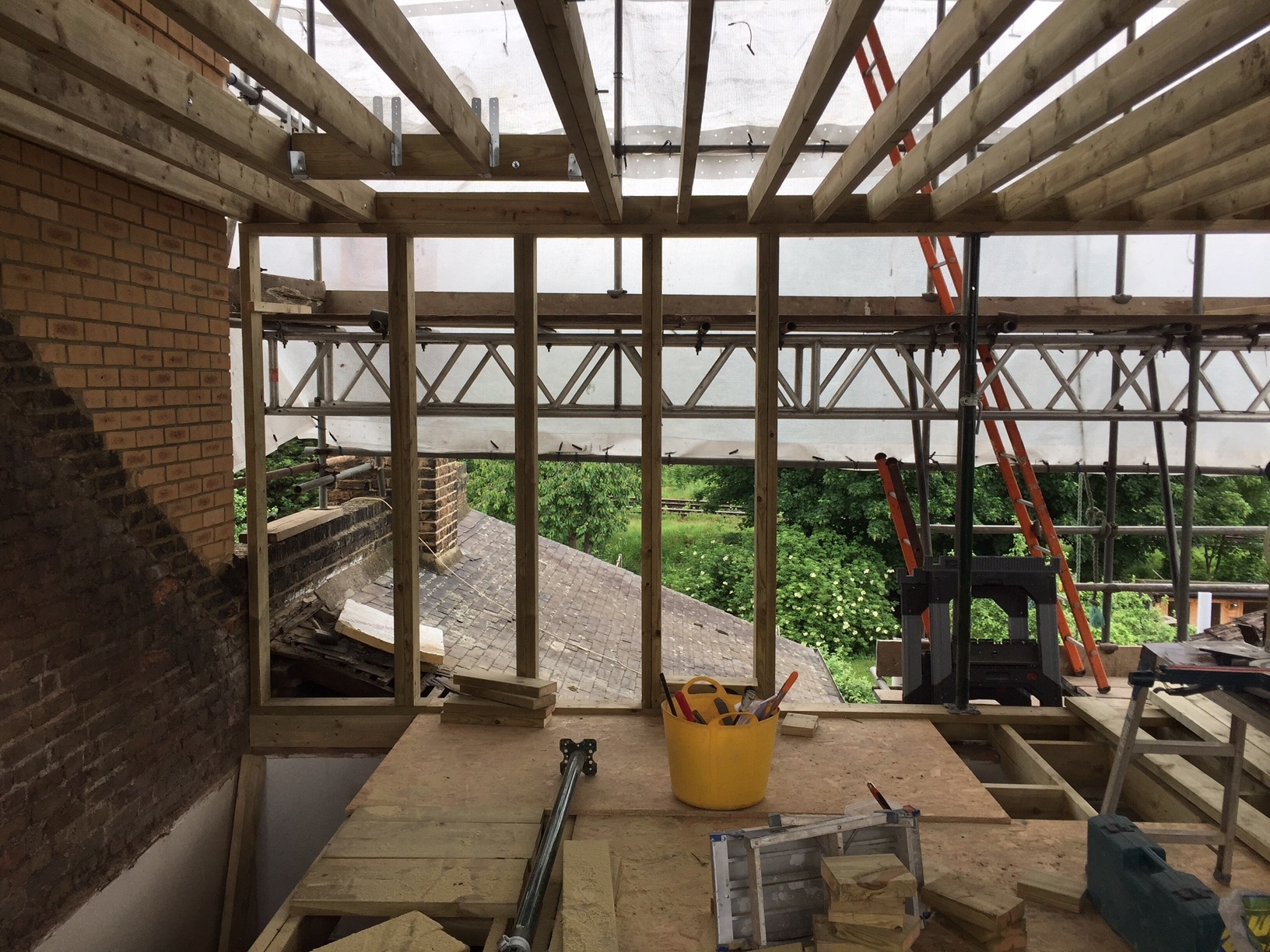 Loft conversion construction progress