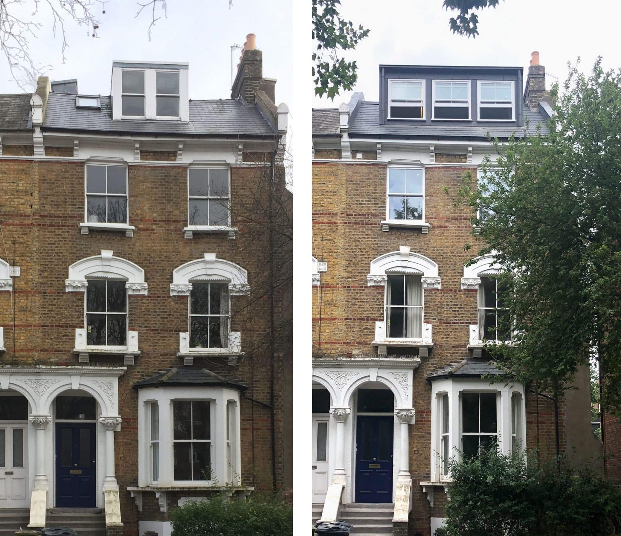 Canonbury dormer sash window to loft before and after