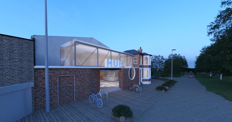 Leyton Jubilee Park cycle hub night view visualisation