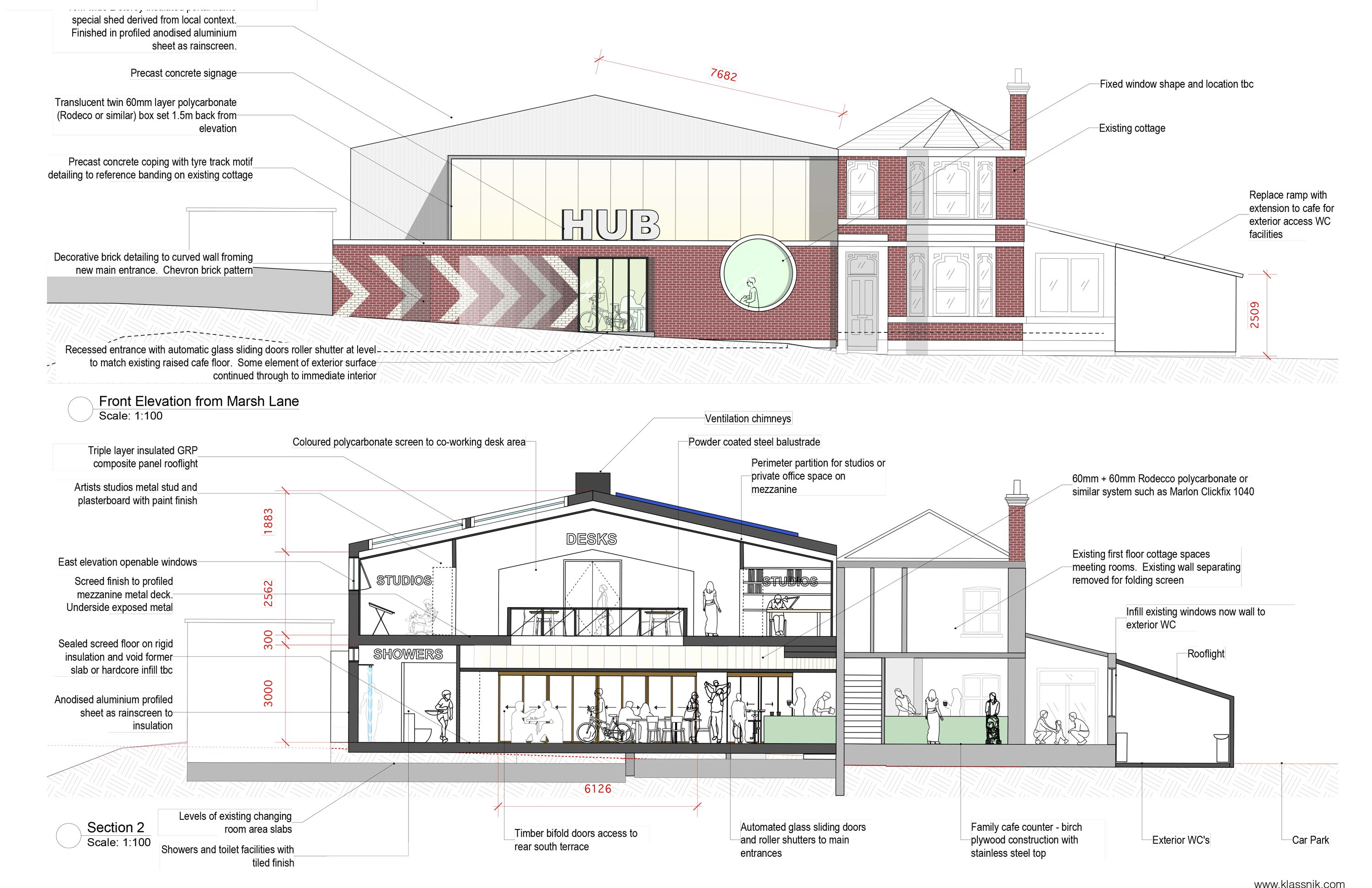 Architects Elevation drawing and section of Cycle Hub Front
