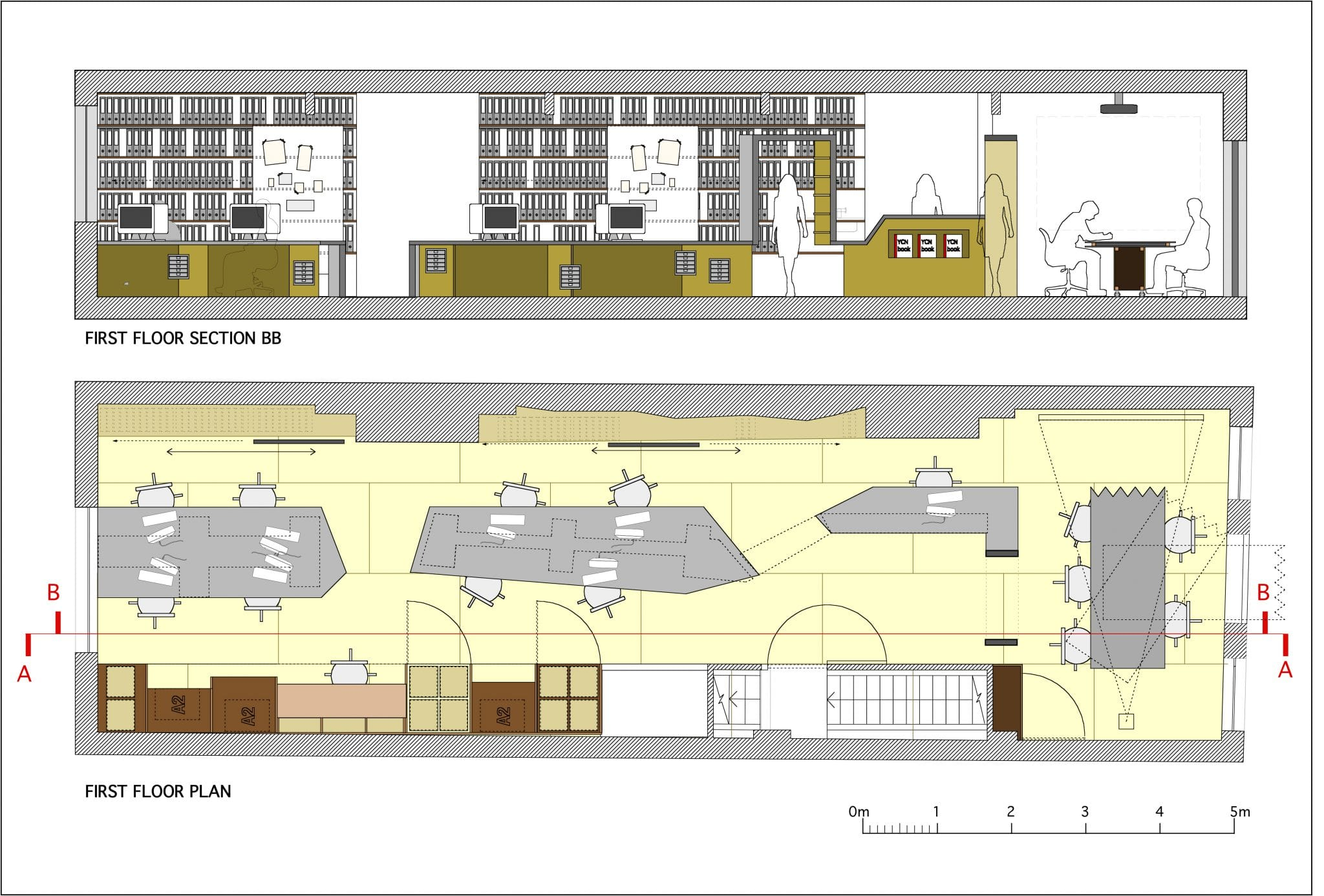 Office fit out and desk design plan and section