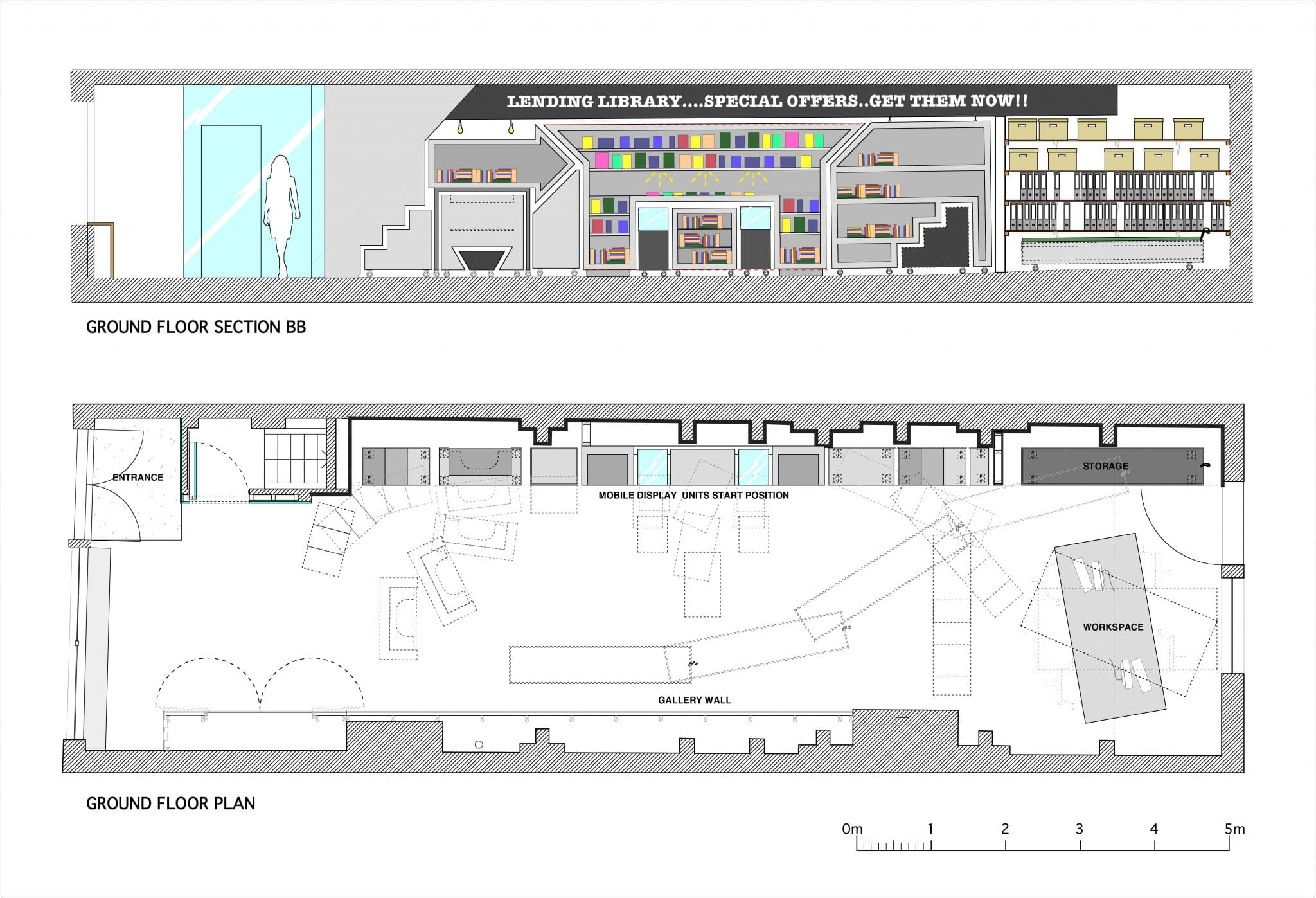 Office fit out and showroom plan and section