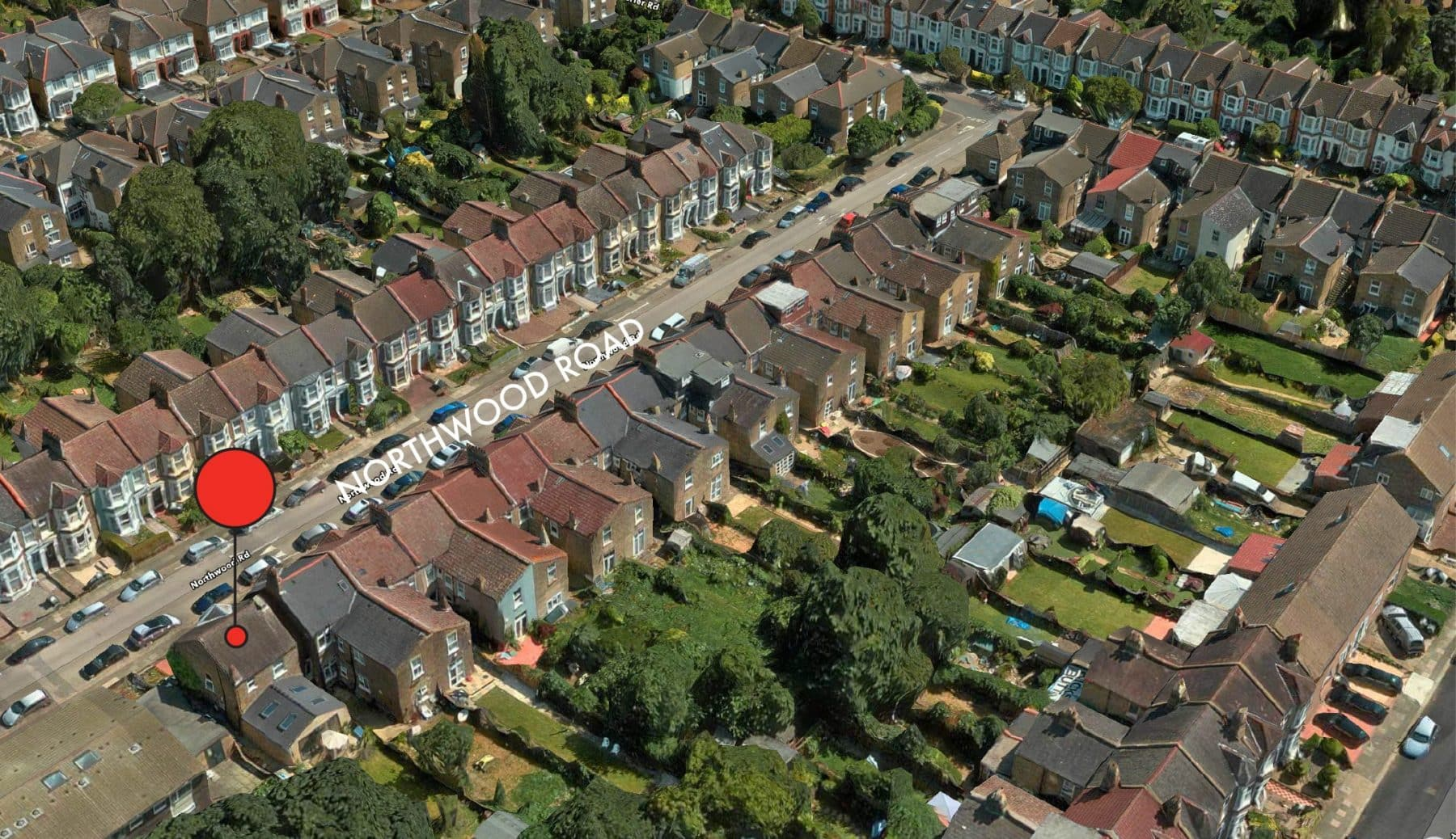 Aerial view of terraced houses with dormer lofts in south london